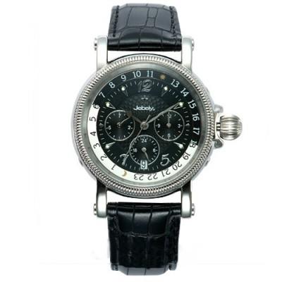Jebely瑞士機械錶-流森新古城系列-三眼造型機械錶-黑/ 39 mm