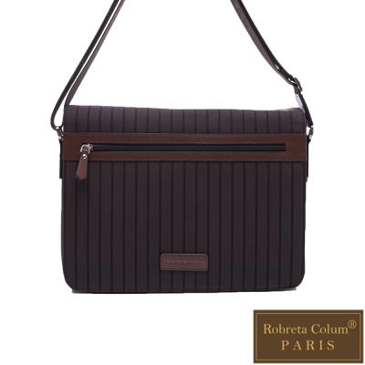 Roberta Colum - 倫敦時尚紳士休閒配牛皮磁扣款掀蓋側背包-咖