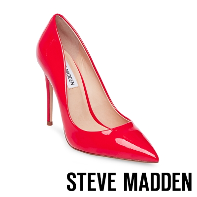 STEVE MADDEN-DAISIE 素面尖頭高跟鞋-鏡紅色