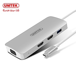 UNITEK TYPE-C 轉VGA/HDMI/PD充電/HUB 鋁合