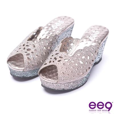 ee9 青春年華鐳射鏤空鑲嵌水鑽露趾楔型跟拖鞋-灰色