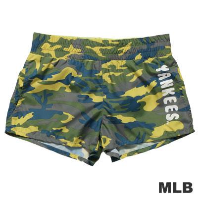MLB-紐約洋基隊迷彩印花透氣短褲-淺綠-女