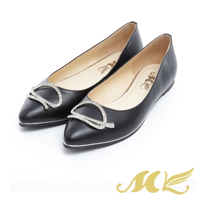 MK-台灣製真皮系列-不規則亮鑽尖頭平底娃娃鞋-黑色