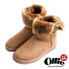 Ollie韓國空運-正韓製側V反褶多way中筒增高雪靴-駝