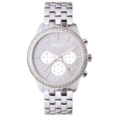 DKNY 華麗晶鑽三眼中性腕錶-灰/42mm