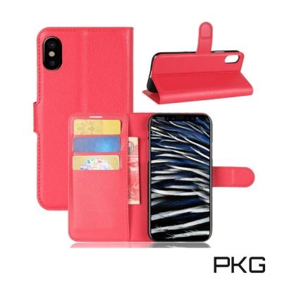 PKG Apple IPhone X 側翻式皮套經典皮革系列-紅