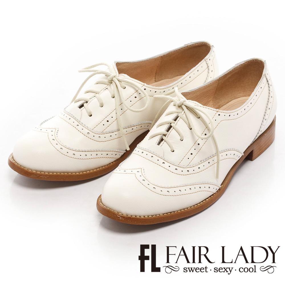 Fair Lady 復古英倫風尚繫帶牛津鞋 白