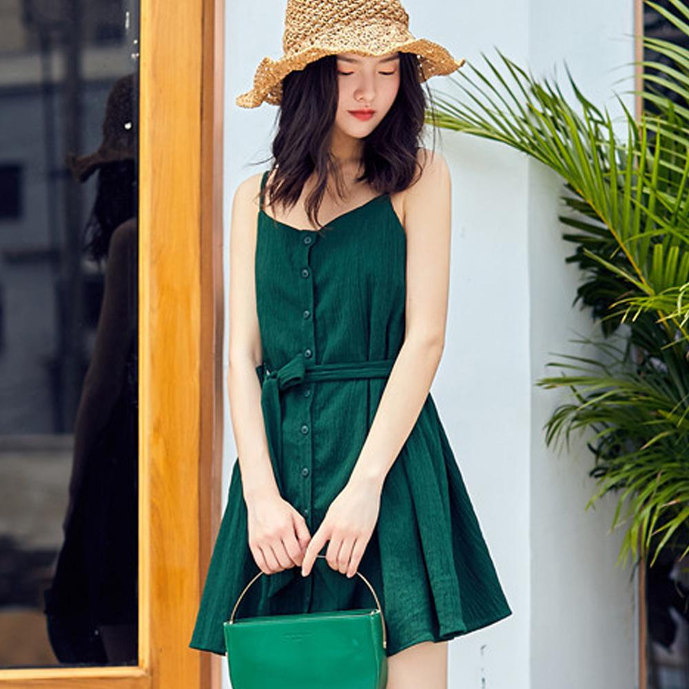 復古高腰綁帶細肩帶吊帶裙 (綠色)-Kugi Girl