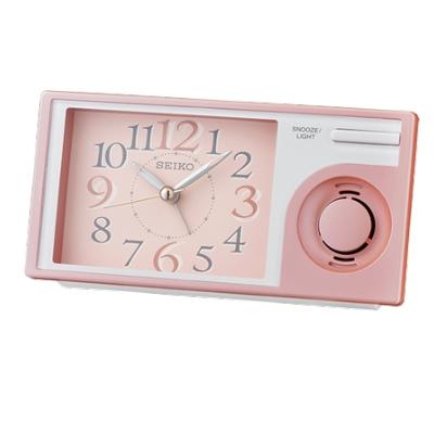 SEIKO 日本精工 滑動式秒針 音樂鬧鐘(QHP 004 P)-粉/ 7 . 5 X 14 . 9 cm