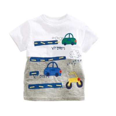 歐美風格設計 小童中童男童短棉T居家外出 汽車噗噗 白灰色