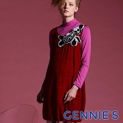 Gennie's奇妮-010系列-花朵秋冬孕婦背心洋裝(T2429) 灰/紅二色可選