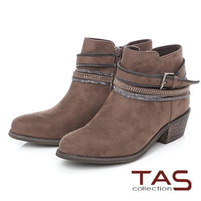 TAS 多層造型鏈條繞踝粗跟短靴-中性咖