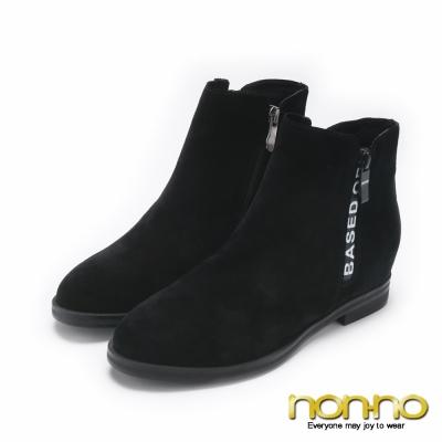 nonno簡約英文個性雙側拉鍊短靴-黑
