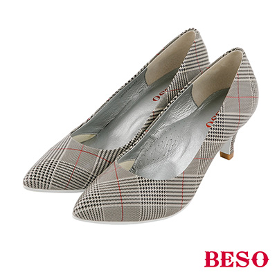 BESO 都會摩登  全真皮英倫黑白格紋高跟鞋~黑