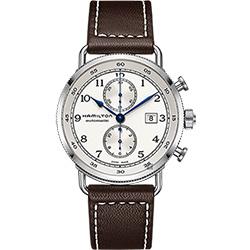 Hamilton漢米爾頓 卡其海軍計時機械錶-銀x咖啡/44mm