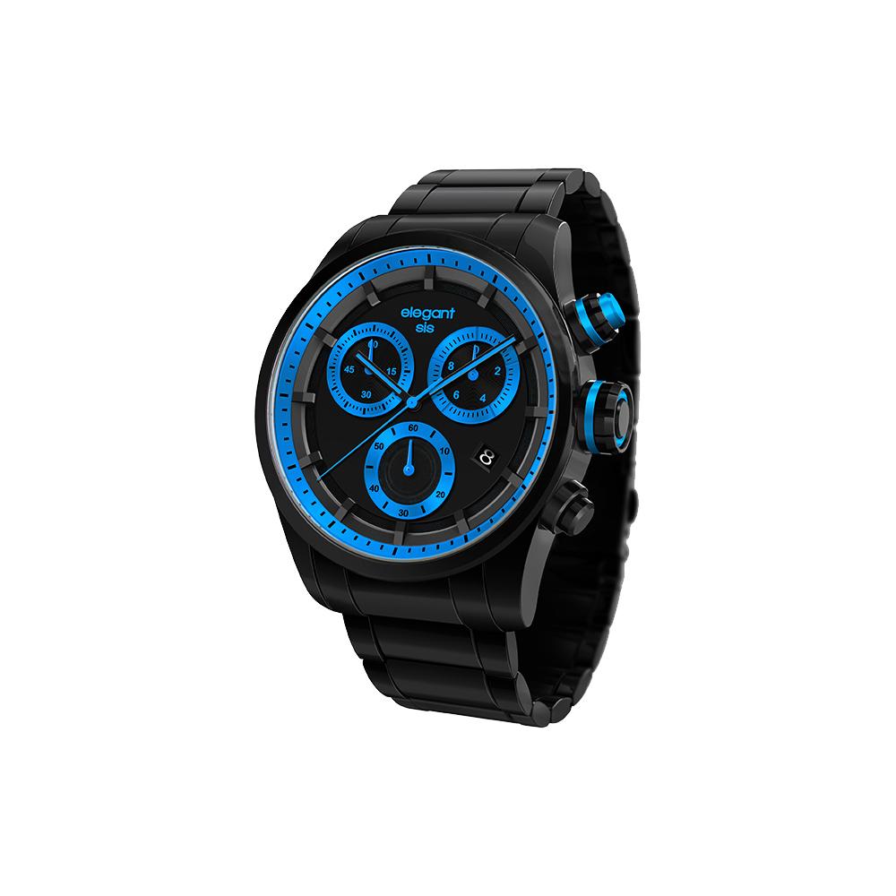 elegantsis Clasic Fashion 潮流玩色計時腕錶-黑x藍/44mm