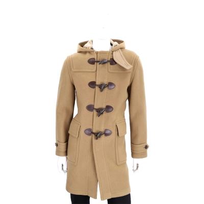 BURBERRY 羊毛混紡連帽牛角扣大衣(男款/駝色)