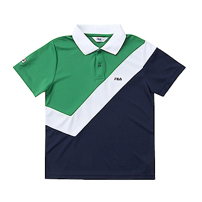 FILA KIDS 男童吸濕排汗POLO衫-綠 1POS-4406-GN