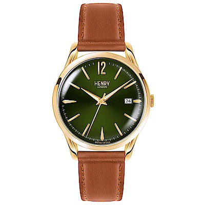 Henry London 英倫時尚真皮手錶-綠X金/39mm