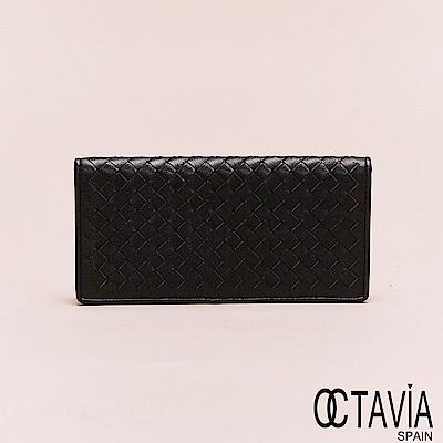 OCTAVIA8真皮 - 男仕系列 頂級羊皮編織二折長夾 - 豐盛黑