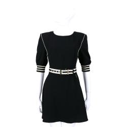 ELISABETTA FRANCHI 黑色拼接條紋五分袖洋裝(附腰帶)