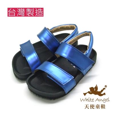 天使童鞋-J835 大膽玩色金屬色涼鞋 (中童)-寶光藍