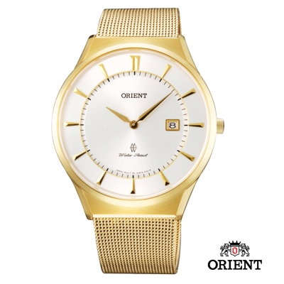 ORIENT 東方錶 SLIM系列 超薄時尚簡約藍寶石鏡面石英錶-金色/39mm