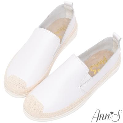 Ann'S下班日常-超舒適真皮草編懶人鞋-白