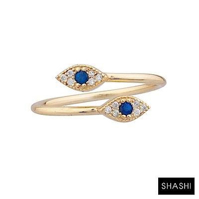 SHASHI 紐約品牌 EVIL EYE 智慧之眼戒指 925純銀鑲18K金 白鑽X藍鑽