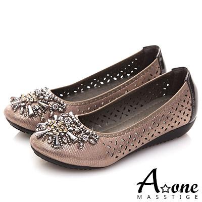 A one 鑽石串珠鏤空小坡跟鞋-灰色
