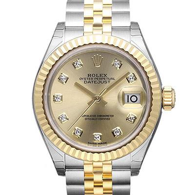 ROLEX 勞力士Datejust 279173蠔式半金10顆鑽日誌型腕錶-金面/28mm