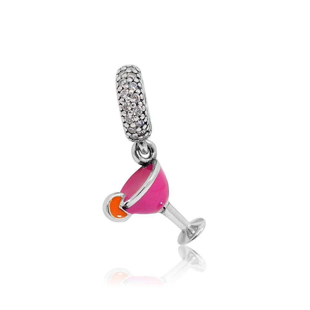 Pandora 潘朵拉 垂墜水果桃紅雞尾酒杯 純銀墜飾 串珠