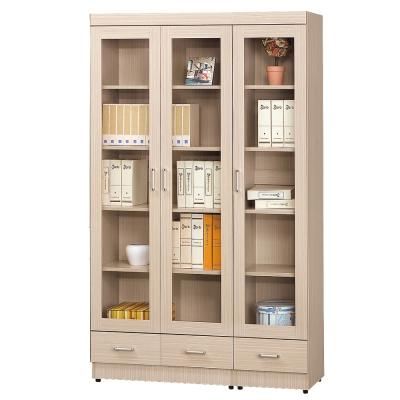 AS-瑞克白橡色2.6尺+1.3尺下抽書櫥-119x32x185cm