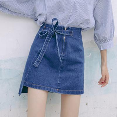 蝴蝶結綁帶後長牛仔裙(共二色)-Kugi Girl