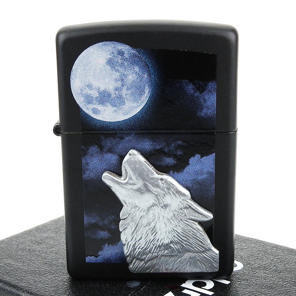 【ZIPPO】美系~Howling Wolf-狼嚎立體貼飾打火機