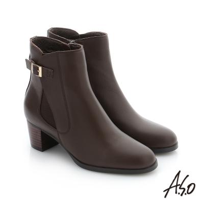 A.S.O 心機美靴 牛皮金屬飾釦中筒靴 咖啡色