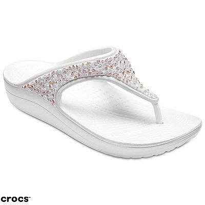 Crocs 卡駱馳 (女鞋) 思瓏厚底閃亮人字拖 204181-1C5