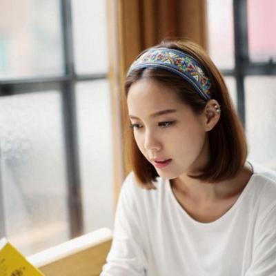 梨花HaNA 韓國波西米亞民族風潮刺繡圖騰髮帶