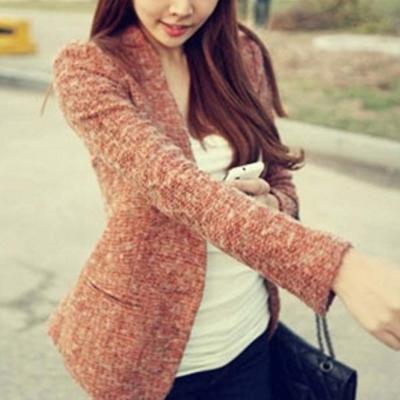 顯瘦合身短版西裝外套-橘紅-Sweet-Dress