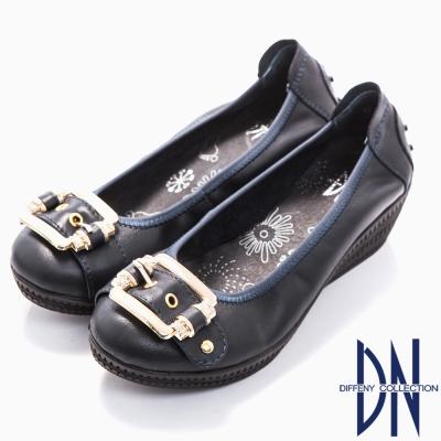DN-簡約舒適-全真皮方形金屬飾扣楔型跟鞋-深藍