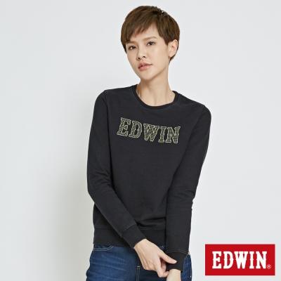EDWIN 繡花EDWIN長袖T恤-女-桔黃