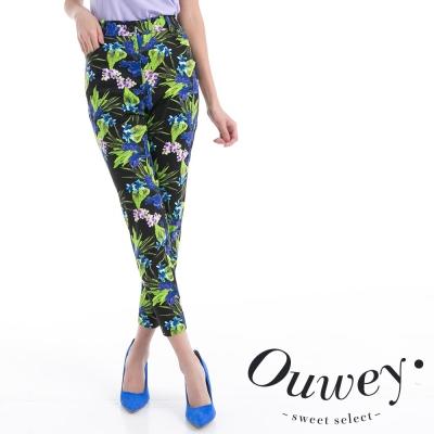 OUWEY歐薇-全棉彈力顯瘦花香鳥鳴窄管褲