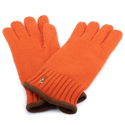 RALPH LAUREN POLO 麂皮飾邊小馬刺繡LOGO羊毛手套-橘紅色