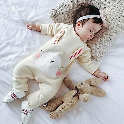 Baby unicorn 米黃小兔棉絨長袖連身衣