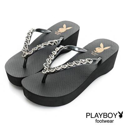 PLAYBOY華麗動人 水鑽寶石厚底夾腳拖鞋-黑(女)