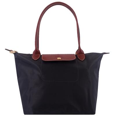 Longchamp咖啡色皮飾邊長背帶折疊水餃包(鐵灰色/小)