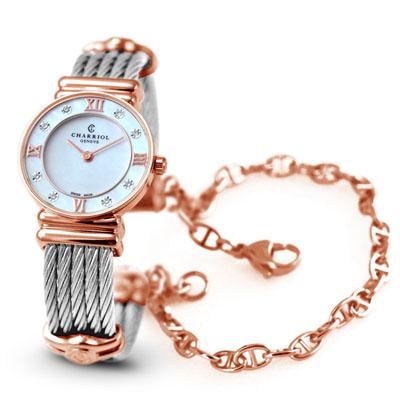 CHARRIOL 夏利豪玫瑰金晶鑽羅馬珍珠白鎖鍊錶-24.5mm