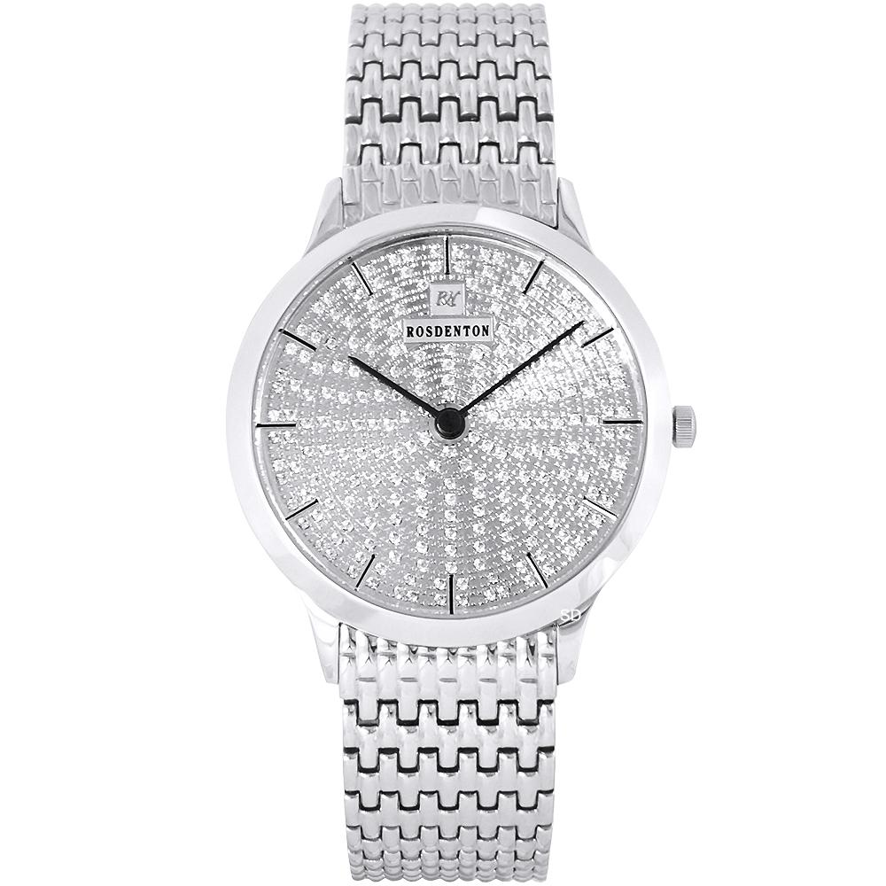 ROSDENTON勞斯丹頓銀河星光晶鑽時尚手錶-銀/36mm
