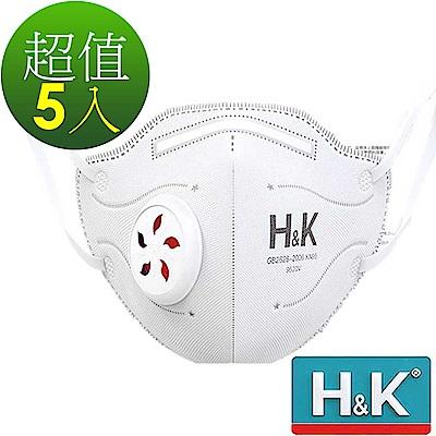 H&K 香港 活性碳+靜電吸附+大孔徑呼吸閥+5層過濾 成人立體口罩 白5入(空汙粉塵