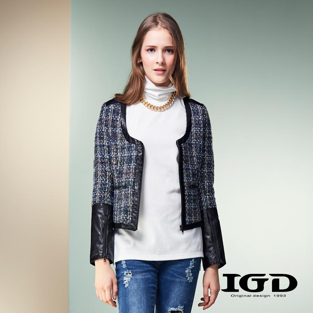 IGD英格麗氣質格紋拼接仿皮短版外套-黑色